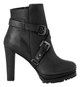 AllSaints Leather Buckle Heel Biker Black Boots