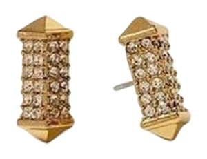 Gold Pave Stone Stud Earrings