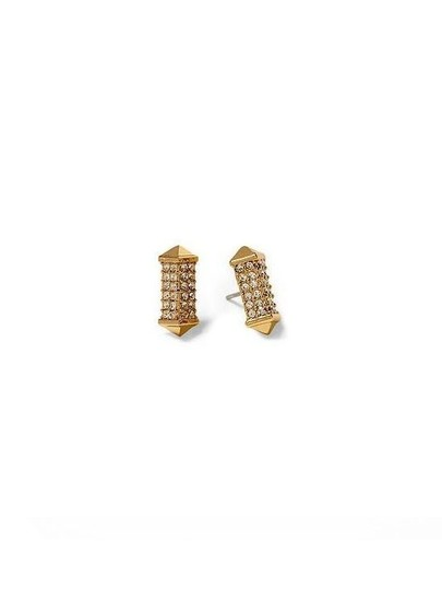 Other Gold Pave Stone Stud Earrings Image 1