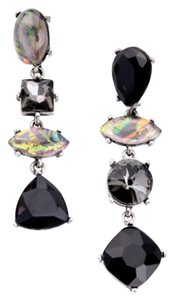 Black Multi Stone Crystal Statement Earrings