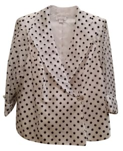 Dress Barn Lined Embellished Light Weight Double Breasted Top White/black & silver