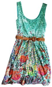 Lily Rose short dress Teal / Coral Multi Lace Belted Sleeveless on Tradesy