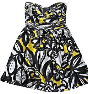 Lucy Love short dress Black White Yellow Multi Strapless Medium Large on Tradesy
