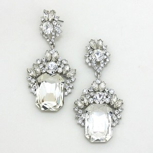 Emerald Cut Rhinestone Crystal Cz Earrings