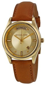 Michael Kors Michael Kors Champagne Dial Brown Leather Ladies Watch