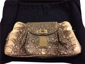 Oscar de la Renta Evening Animal Print Black Beige Clutch