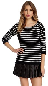Alice + Olivia + Stacey Bendet Stripes Ottoman Linen Blend Scoop New Nwt Imported Christmas Women Clothing Designer Sale Long Off Sweater
