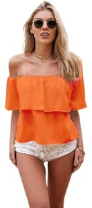 Shirt Off Shoulder Top Orange