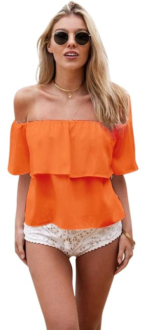 Preload https://img-static.tradesy.com/item/15636028/orange-sexy-off-the-shoulder-ruffled-low-back-peasant-short-sleeve-crop-blouse-size-os-one-size-0-1-650-650.jpg