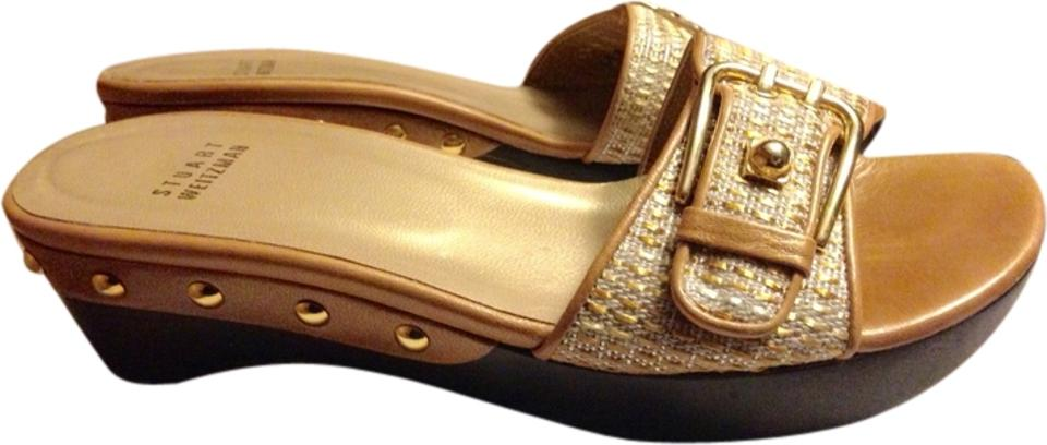 MISS Stuart Weitzman Gold Wood punctual Mules/Slides Reasonable delivery and punctual Wood delivery f4b8e9