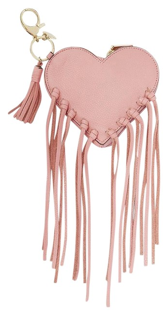 Item - Heart Fringe Pouch Guave Purse Coin Pink Leather Wristlet