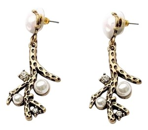 Gold Pearl Crystal Statement Earrings