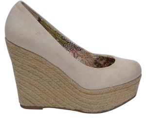 Steve Madden Marryy Canvas Espadrilles Off White, Cream Wedges