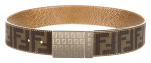 Fendi Brown Zucca canvas Fendi wide belt S Small