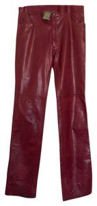 INTERMIX Maroon Leather Boot Cut Pants Portwine