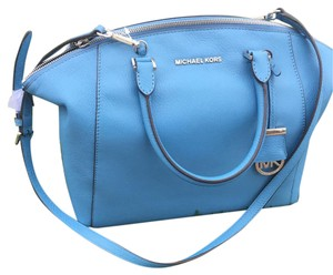 Michael Kors Leather Silver Blue Riley Satchel in Sky/Silver