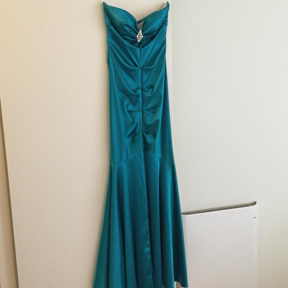Xscape Teal By Joanna Chen Mermaid Style Gown Long Formal Dress Size ...
