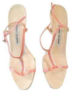 Manolo Blahnik Designer Soft Pink & White Sandals