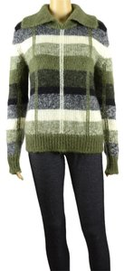 Barneys New York Wide High Collar Checker Sweater