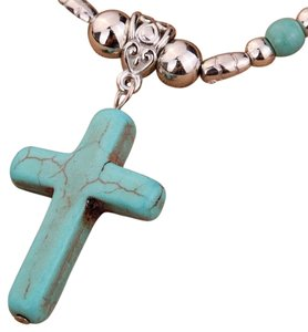 Other Tibet Silver Chain Flower Cross Turquoise Stone Pendant Necklace Christmas Gift