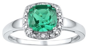 1.75 CT Synthetic Emerald & Diamond Sterling Silver Halo Ring