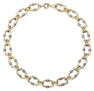Gold Chainlink Pave Stone Collar Necklace