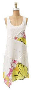 Anthropologie short dress Ivory Multi Cotton/silk Asymmetric Hem on Tradesy
