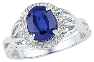 1.65 CT Synthetic Sapphire & Diamond Sterling Silver Halo Ring