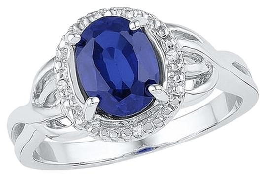 Other 1.65 CT Synthetic Sapphire & Diamond Sterling Silver Halo Ring