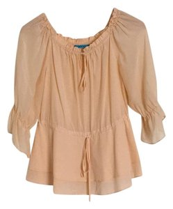 Alice + Olivia Silk Peasent Ruffle Top Peach
