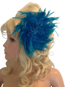 Turquoise feather beaded fascinator