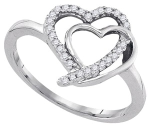 Other Interlocking Double Heart Diamond Sterling Silver Fashion Ring