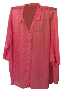 Only Necessities Button Down Shirt Pink polka dots