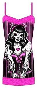 Too Fast Skull Pink Goth Mini Tunic