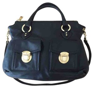 Marc Jacobs Calfskin Gold Work Satchel in Black