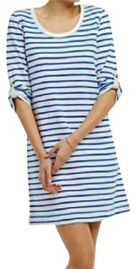 Anthropologie short dress Blue + White Striped Nautical Inspired Soft Cover Up on Tradesy