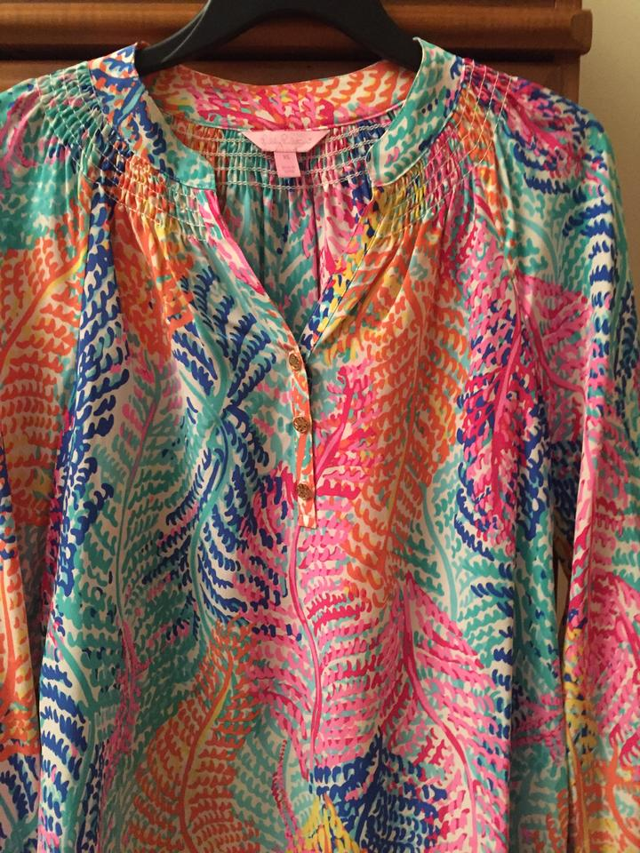 Lilly Pulitzer Multi Colored Coral Print Elsa Blouse Size 0 (XS ...