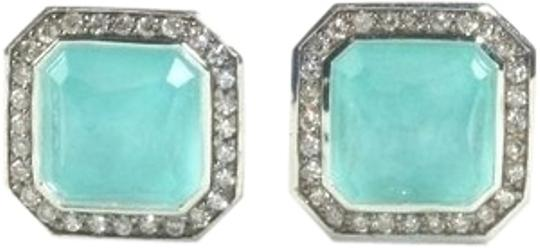 Ippolita IPPOLITA STERLING SILVER TURQUOISE DOUBLET & DIAMOND STELLA RECTANGLE STUD EARRINGS