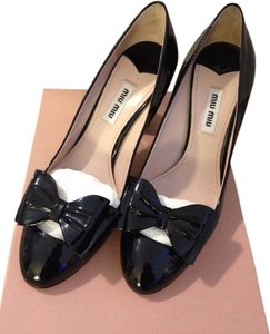 Miu Miu Patent Leather Bow High Heel Black Pumps