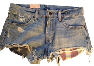 Denim & Supply Flag Cut Off Shorts Med wash blue denim
