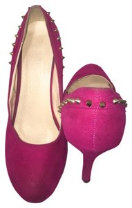 Delicacy Pumps 5 Inch Gold Studded Heels Fucshia Platforms