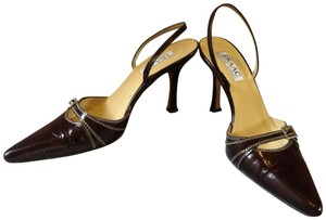 Isaac Mizrahi Leather Slingback Two-tone brown Pumps