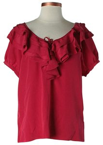 Joie Silk Ruffle Top Red