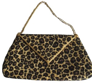 Inge Christopher Beaded Embellished Leopard Designer Leopard Print Clutch