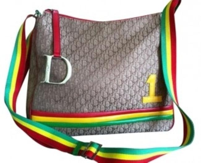 Item - Copper with Red Green Yellow Leather Trim Canvas Cross Body Bag