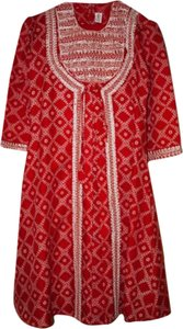 Red and white Maxi Dress by Shalwar Kameez
