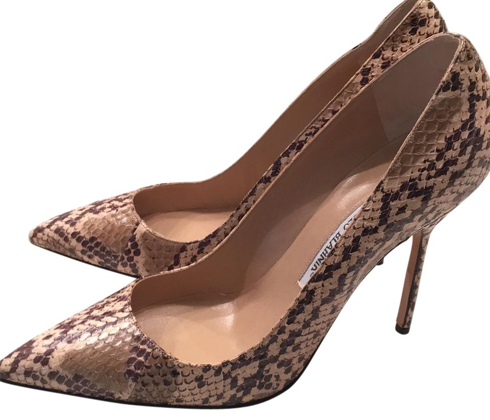 Manolo Nude Blahnik Nude Manolo Black and Taupe Pumps 28339f