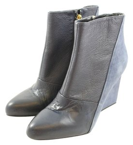 See by Chloe Suede Blue Leather Wedge Navy Boots