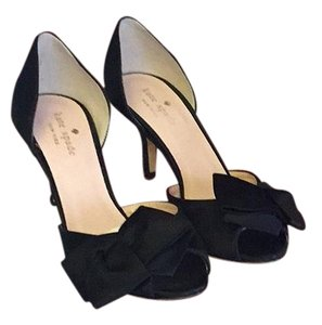 Kate Spade Glitter Bow Satin black Pumps