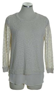 Lucky Brand Lace Sleeve Layered Crewneck Sweater
